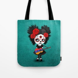 Day of the Dead Girl Playing Armenian Flag Guitar Tote Bag