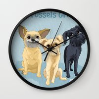 brussels Wall Clocks featuring Brussels Griffon by Bark Point Studio