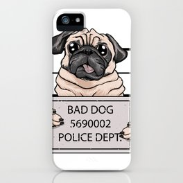 mugshot dog cartoon. iPhone Case