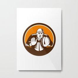 Baseball Catcher Gloves Circle Woodcut Metal Print