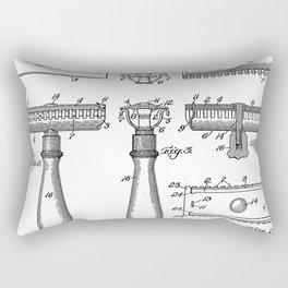 Razor Patent - Barber Art - Black And White Rectangular Pillow