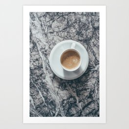 Coffee on Marble Background Art Print