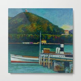 Jetty on Lake Iseo, Lombardy, Italy landsapce painting by Piero Marussig Metal Print
