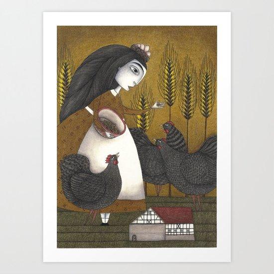 Ira's Hens Art Print