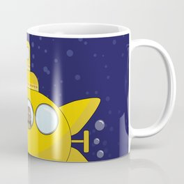 Yellow submarine in deep sea with a cat and bubbles Coffee Mug