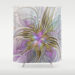 Flourish, Abstract Fractal Art Flower Shower Curtain