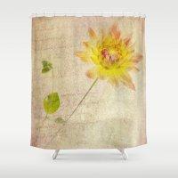 dahlia Shower Curtains featuring Dahlia by Rebecca Cozart