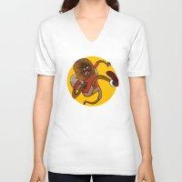 chewbacca V-neck T-shirts featuring Chewbacca traveler by Alex Fadeev