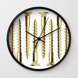 Isolated Golden Screws Texture Wall Clock