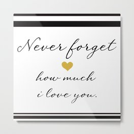 Never Forget How Much I Love You. Metal Print