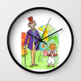 Pure Imagination: Willy Wonka & Oompa Loompa by Michael Richey White Wall Clock
