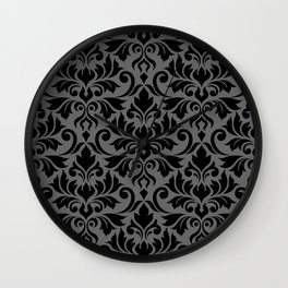 Flourish Damask Big Ptn Black on Gray Wall Clock