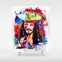 jack sparrow Shower Curtains featuring Captain Jack Sparrow by isabelsalvadorvisualarts
