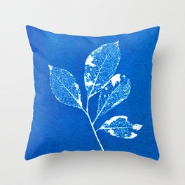 Cyanotype blue Skeleted leaf Throw Pillow