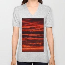 fiery sunset Unisex V-Neck