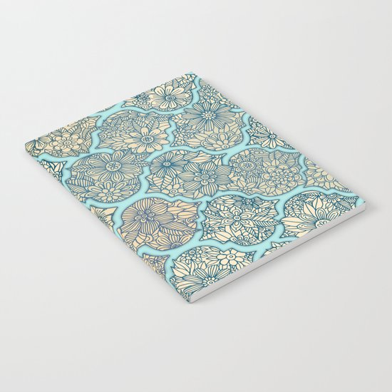Moroccan Floral Lattice Arrangement - aqua / teal Notebook
