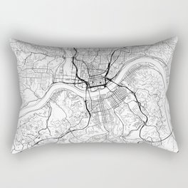 Cincinnati Map White Rectangular Pillow