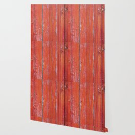 Red Rustic Fence rustic decor Wallpaper