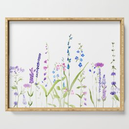 purple blue wild flowers watercolor painting Serving Tray