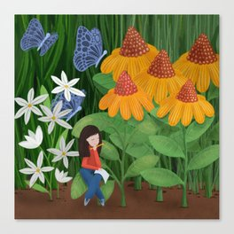 Drawing in he garden Canvas Print