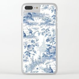 Powder Blue Chinoiserie Toile Clear iPhone Case