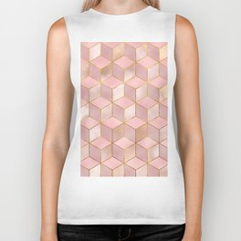 PINK CHAMPAGNE GRADIENT CUBE PATTERN (Gold Lined) Biker Tank