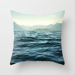 Ocean Waves.Mountains.Canada.Desolation Sound.Water Texture.35mm film. Throw Pillow