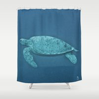 turtle Shower Curtains featuring Turtle by Christine Becksted Images