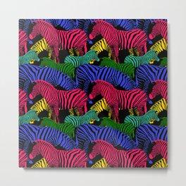 Herd of Fantasy Colored Zebra Metal Print