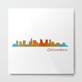 Columbus Ohio, City Skyline, watercolor  Cityscape Hq v1 Metal Print
