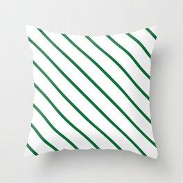 Diagonal Lines (Dark Green & White Pattern) Throw Pillow