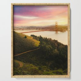 Golden Gate Bridge | San Francisco California Landscape Sunset Travel Photography Serving Tray