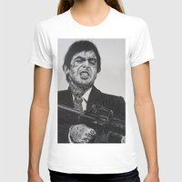 montana T-shirts featuring A TATTOOED TONY MONTANA by waynemaguire777