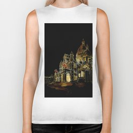 Paris Basilica Sacre Coeur at Night Biker Tank
