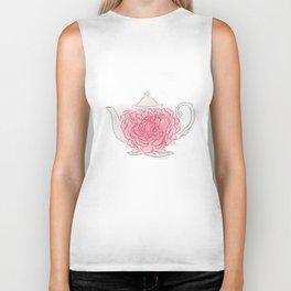 Floral tea pot Biker Tank