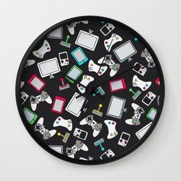 Retro Gamer Video Controller Gaming Pattern Black Wall Clock