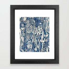 Indigo cacti Framed Art Print