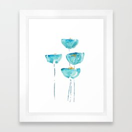blue poppy watercolor Framed Art Print
