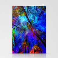 bedding Stationery Cards featuring Colorful forest by haroulita