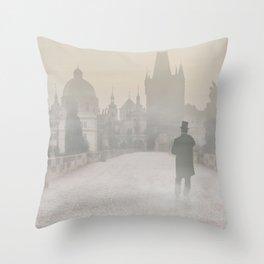 Prague in the morning fog Throw Pillow