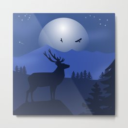 Mystical Night in the Mountains Metal Print