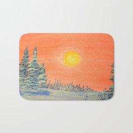winter trees snow and sun . art Bath Mat