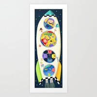 spaceship Art Prints featuring Spaceship  by ilana exelby