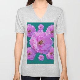 Pink Wild Roses on Teal Color Unisex V-Neck