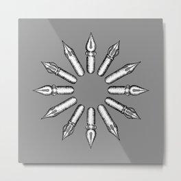 Dip Pen Nibs Circle (Grey and White) Metal Print