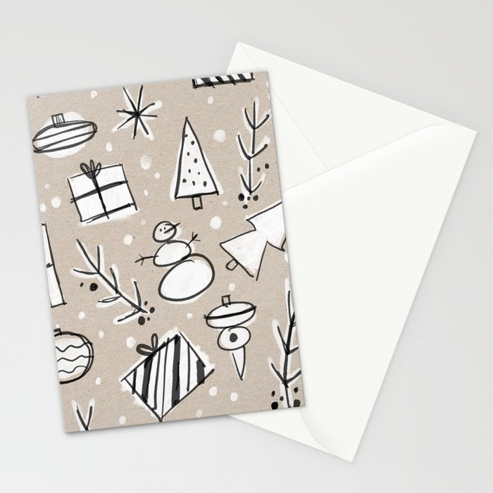 Christmas White and Kraft Sketches Stationery Cards
