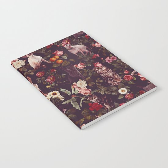 Cat and Floral Pattern Notebook