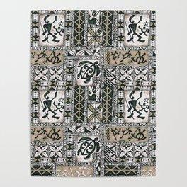Hawaiian Honu Tapa Cloth Poster