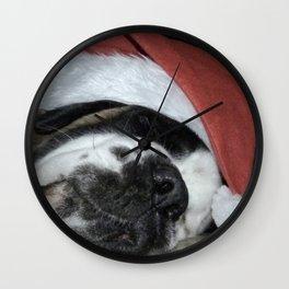 Christmas St Bernard dog Wall Clock