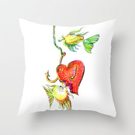 Fishing With Heart Throw Pillow